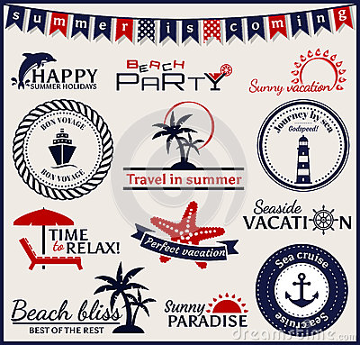 Free Summer And Sea Labels, Symbols And Emblems. Vector Design Elemen Stock Images - 40573734