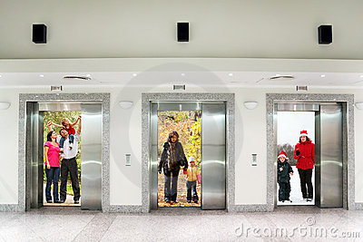 Summer autumn winter family in elevator doors