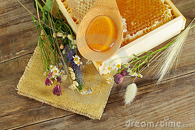 Summer background - honey and flowers