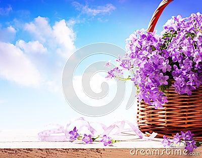 Summer background,  Summer flowers in basket