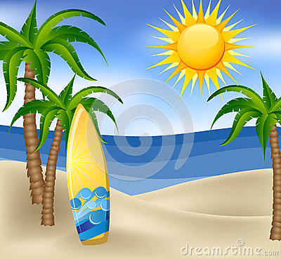 Summer background with surfboard and palm trees