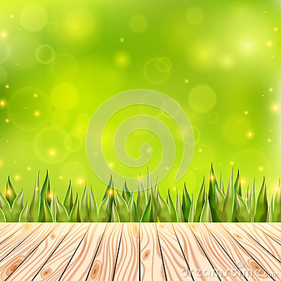 Summer background with wooden deck. Wood floor over green grass and blue sky. Abstract vector illustration. Vector Illustration