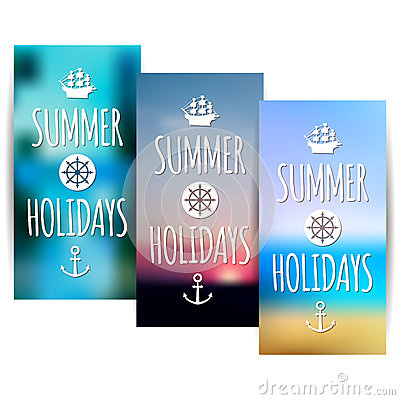Summer banners with blurred nature background