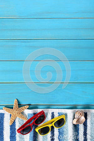 Free Summer Beach Background Border, Sunglasses, Towel, Starfish, Blue Copy Space, Vertical Stock Images - 73350114