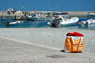 Summer beach bag at greek marina,Leonidio,Greece