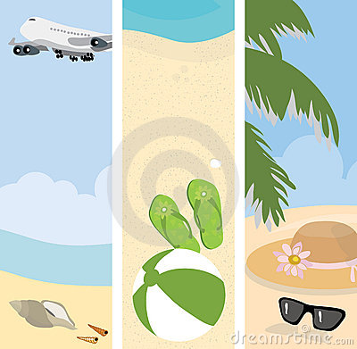 Summer beach banners illustration Cartoon Illustration