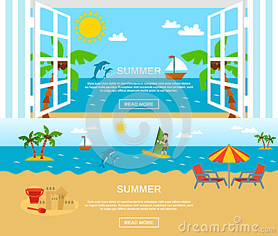 Summer And Beach Banners Set Vector Illustration