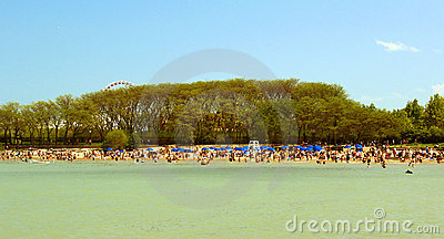 Summer beach in Chicago