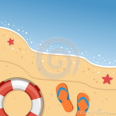 Summer Beach with Flip Flops & Lifebuoy
