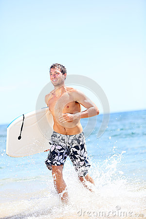 Free Summer Beach Fun Surfer Man Running With Bodyboard Royalty Free Stock Image - 37153296