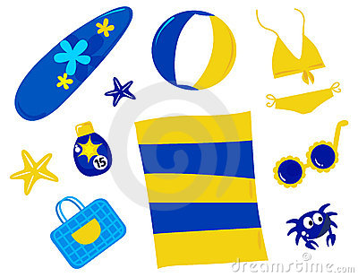 Summer and beach icons and accessories - retro