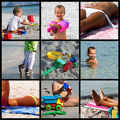 Summer beach life collage