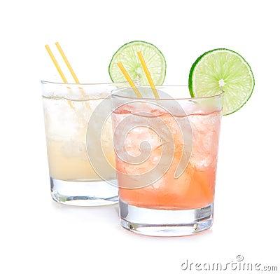Free Summer Beach Margarita Cocktails In Spirit Glasses Stock Photography - 32874242