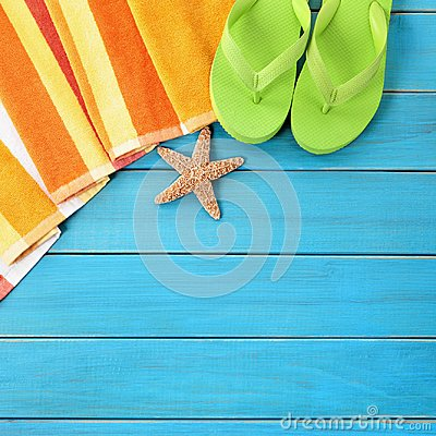 Free Summer Beach Objects Border, Flip Flops, Starfish Blue Wood Background Copy Space Royalty Free Stock Photo - 115766595