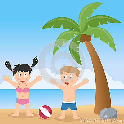 Summer Beach with Palm Tree and Kids