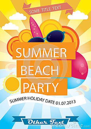 Free Summer Beach Party Vector Poster Royalty Free Stock Images - 32403559
