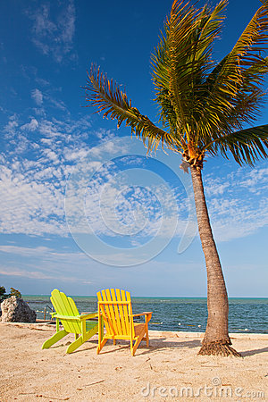 Free Summer Beach Scene With Palm Trees And Lounge Chairs Royalty Free Stock Images - 30607119