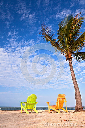 Free Summer Beach Scene With Palm Trees And Lounge Chairs Stock Photography - 30607252
