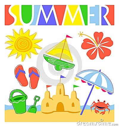Free Summer Beach Set/eps Stock Photos - 18323133