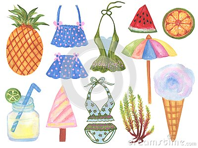 Summer beach swimware tropical and cocktail illustration in Set of summer vacation on white Cartoon Illustration