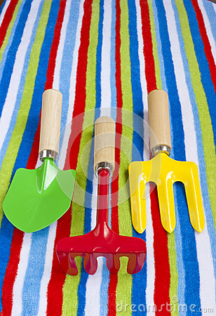 Summer beach towel colourful children s toys.