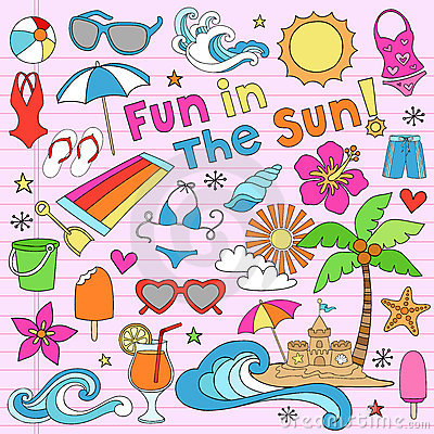 Free Summer Beach Vacation Doodles Vector Elements Stock Photography - 22742862