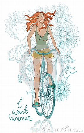 Summer bicycle smiling girl