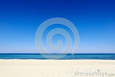 Summer blue sky sea coast sand background beach Stock Photo