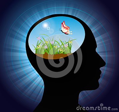 Free thinking, nourish your mind, positive thoughts and good intentions, brain power concept Vector Illustration