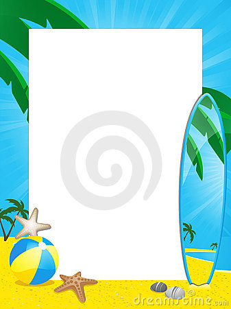 Free Summer Border And Surfboard Royalty Free Stock Photo - 19644255