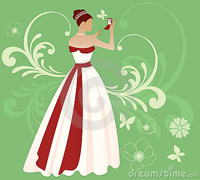 Free Summer Bride With Red Ribbon Royalty Free Stock Photos - 13483808