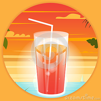Free Summer Bright Poster With A Drink At The Beach Background. Stock Image - 74860171