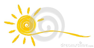 Summer bright sun. Vector Illustration