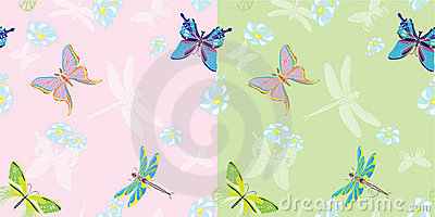Summer butterfly seamless in two variants