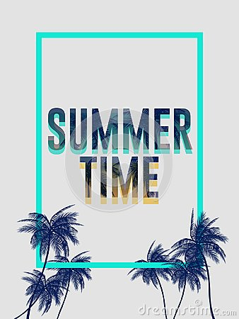 Free Summer California Tumblr Backgrounds Set With Palms, Sky And Sunset. Summer Placard Poster Flyer Invitation Card. Summertime. Stock Images - 111945314