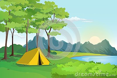 Summer Camp with Mountain and Lake Landscape, Lakeside Scenery Vector Illustration