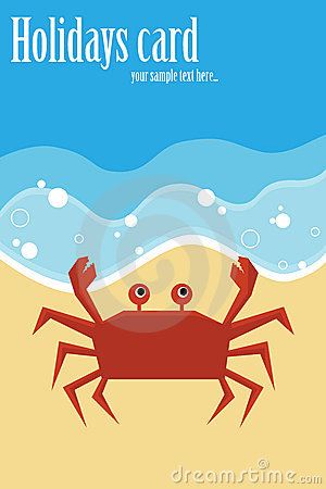 Summer card with crab