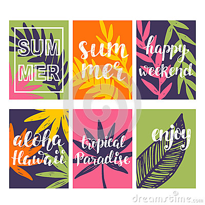 Summer card templates collection Vector Illustration