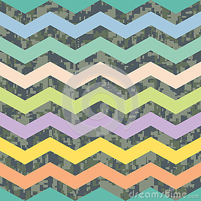 Summer Chevron on Fall Camo Background Pattern