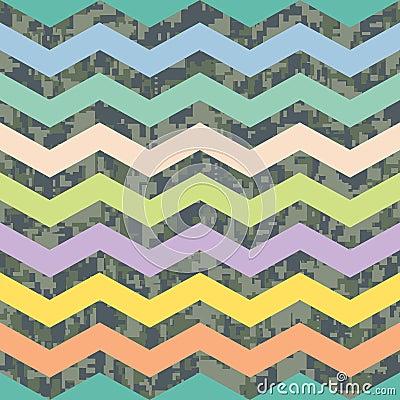 Summer Chevron on Fall Camo Background Pattern