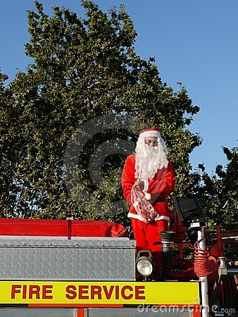 Summer Christmas: santa parade Editorial Photo