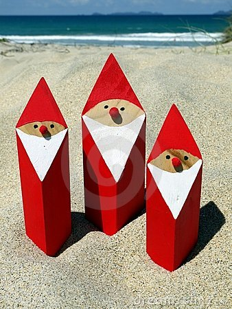 Free Summer Christmas: Santas At Beach Stock Photography - 22607472