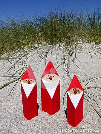 Free Summer Christmas: Santas In Sand Stock Photo - 22607480