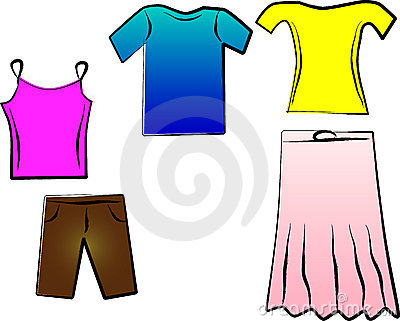 Drawn Colored Summer Clothes Stock Vector - Image: 57502753