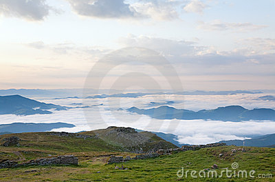 Summer cloudy mountain landscape