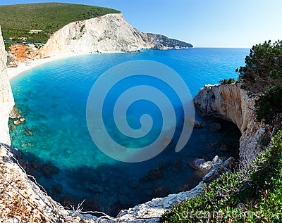 Summer coast with beach  (Lefkada, Greece).