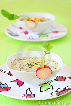 Summer Cold Soup( Okroshka) Stock Photos - Image: 13763293