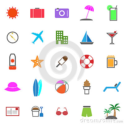 Summer color icons on white background