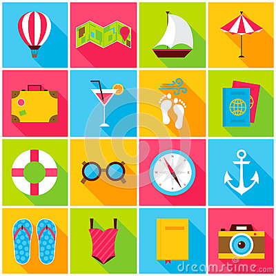 Summer Colorful Icons Vector Illustration
