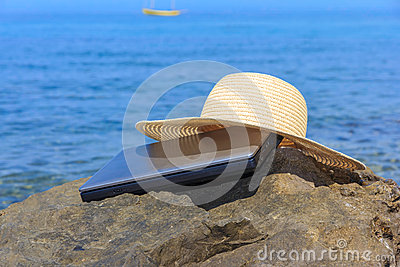 Summer Composition Including Hat, Laptop And Sea Stock Photography - Image: 26438222